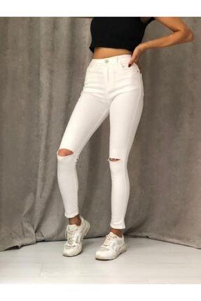 ETC Butik Beyaz Diz Yırtık Yüksek Bel Dar Paça Full Likralı Kot Pantolon 1