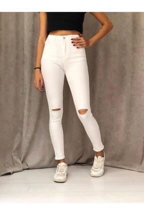 ETC Butik Beyaz Diz Yırtık Yüksek Bel Dar Paça Full Likralı Kot Pantolon 2