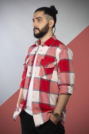 pawq Erkek Kırmızı Kareli Oduncu Gömleği 0