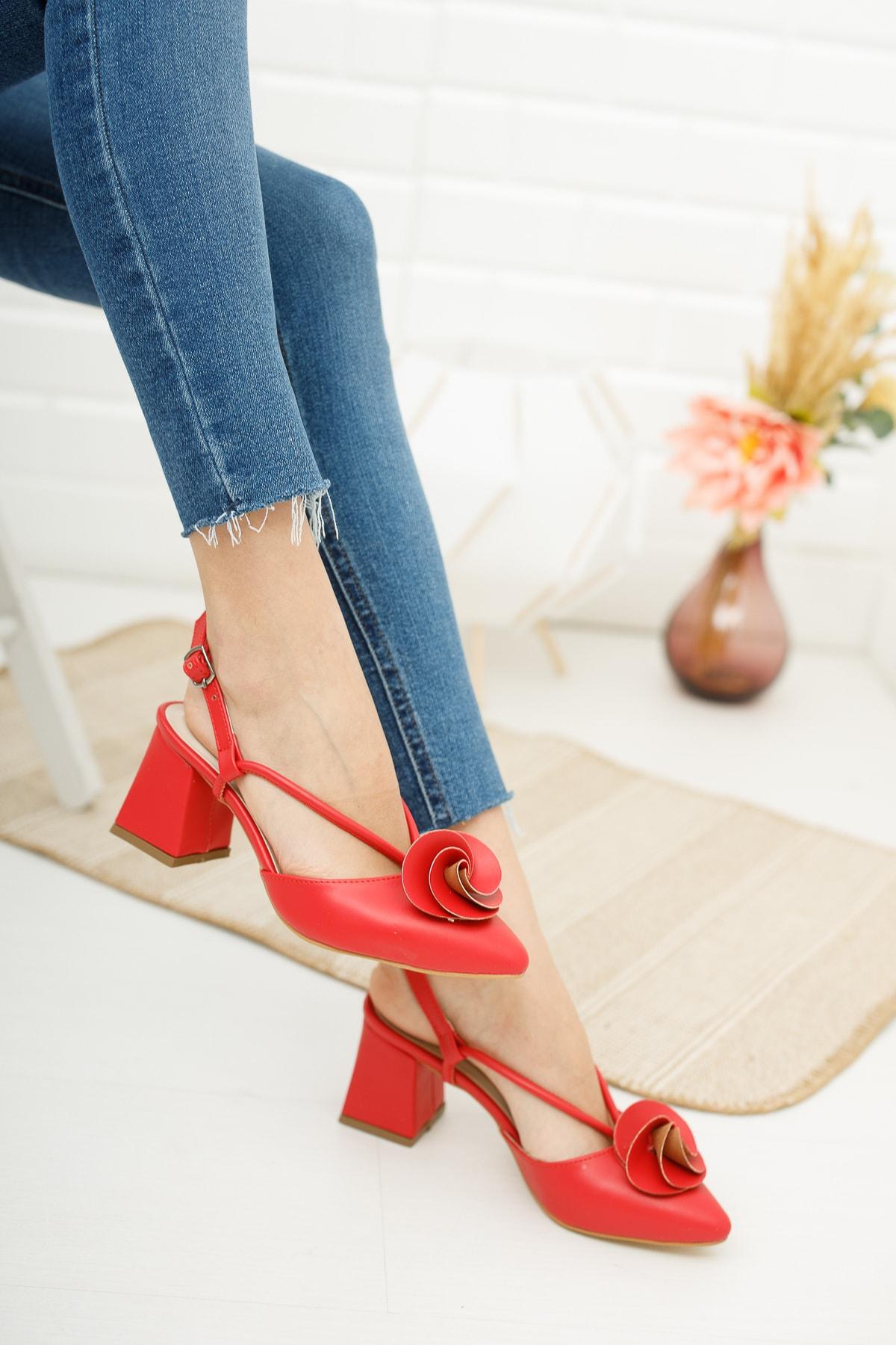 Kadın  Kırmızı Cilt Gül Fiyonklu Topuklu Ayakkabı Md1042-119-0004