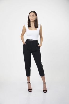 MD trend Kadın Siyah Kemerli Pileli Havuç Kesim Ofis Pantolon 3