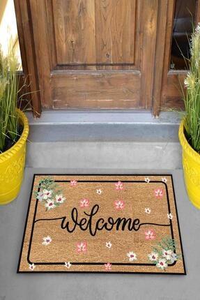Evsebu Dekoratif Kapı Önü Paspası Welcome Pembe Çiçek 1