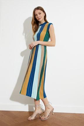 TRENDYOLMİLLA Lacivert Simli Çizgili Elbise TWOSS20EL1799 1