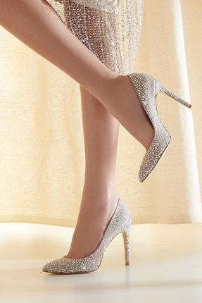 Kapalı Burun Taşlı Stiletto Topuklu Ayakkabı 8153