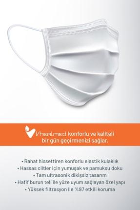Vheal Med Medikal Maske 3 Katlı Meltblown Filtreli Burun Telli Full Ultrasonik Beyaz 50 Adet 3