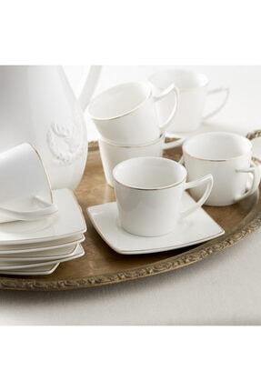 Karaca Kare Tabaklı 6 Kişilik Kahve Fincan Takımı 0