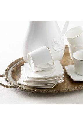 Karaca Kare Tabaklı 6 Kişilik Kahve Fincan Takımı 1