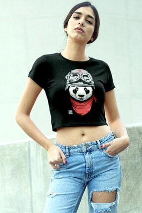 تصویر از Bandanalı Panda Siyah Kısa, Kesik Crop Top Kadın T-shirt 1M1CW076FS