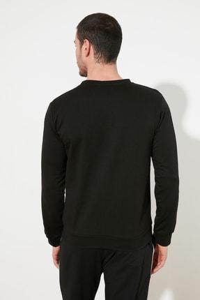 TRENDYOL MAN Siyah Erkek Regular Fit Bisiklet Yaka Kolu Şeritli Sweatshirt TMNSS20SW0074 3