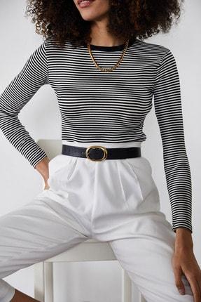 Xena Kadın Siyah Çizgili Fitilli Bluz 1KZK2-11373-02 1