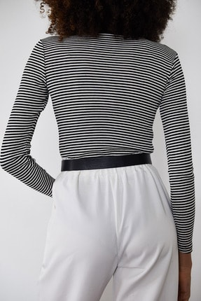 Xena Kadın Siyah Çizgili Fitilli Bluz 1KZK2-11373-02 3