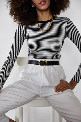 Xena Kadın Siyah Çizgili Fitilli Bluz 1KZK2-11373-02 4