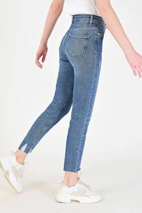 Addax Kadın Kot Rengi Paça Detaylı Slim Mom Jean Pn6095 - Pnj ADX-0000018948 3