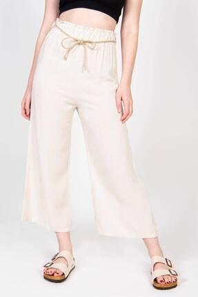 Addax Kadın Bej Bağcık Detaylı Bol Pantolon PN70540 - B6 ADX-0000018125 1