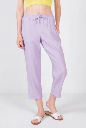 Addax Kadın Lila Bağlama Detaylı Pantolon 1