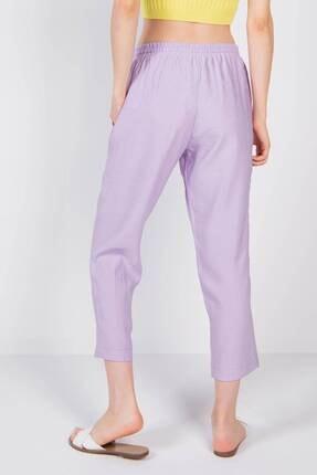 Addax Kadın Lila Bağlama Detaylı Pantolon 4