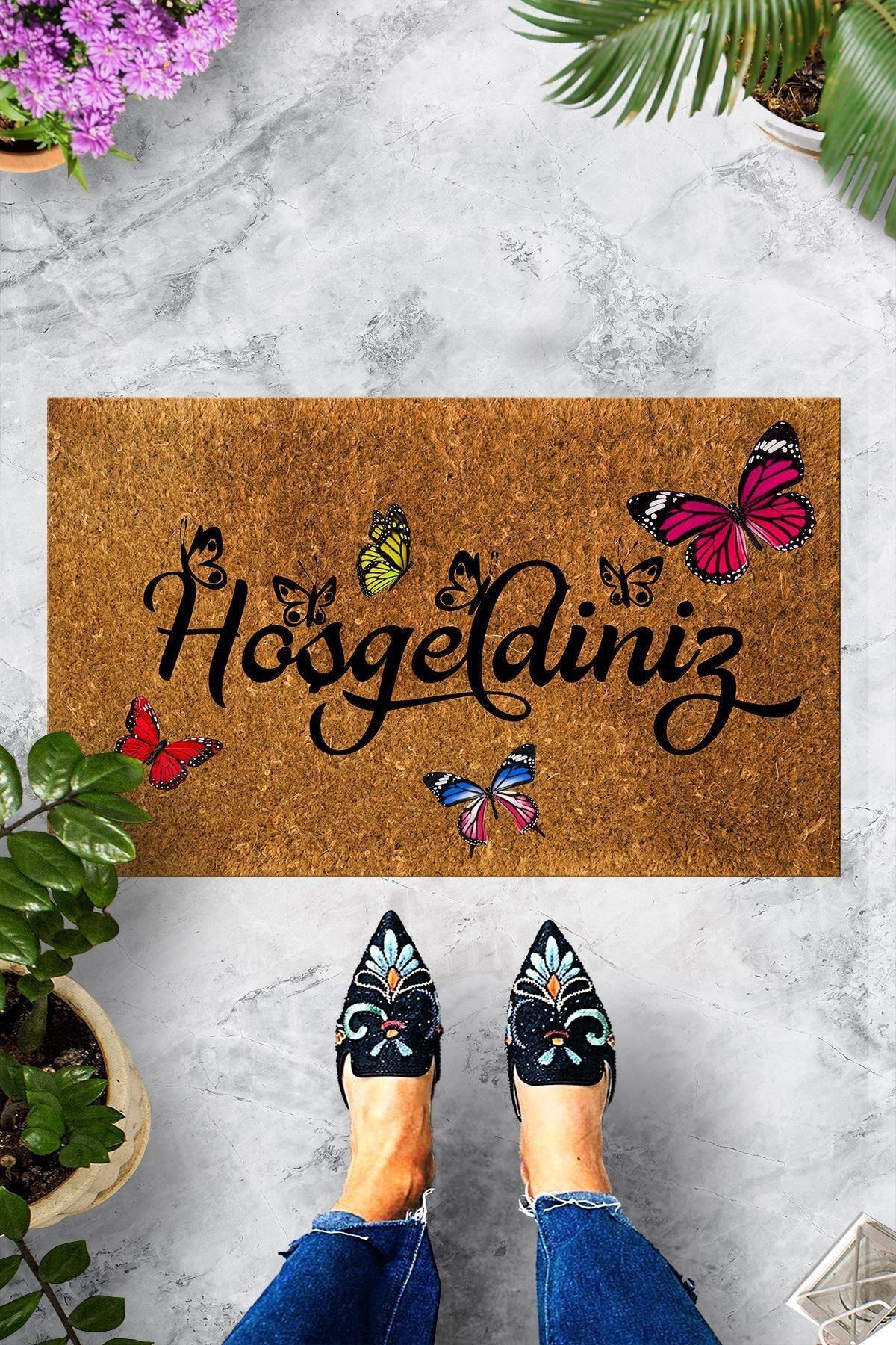 Home Hoşgeldiniz Kelebek Dekoratif Çok Amaçlı Iç ve Dış Kapı Paspası