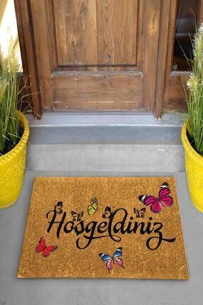 Evsebu Home Hoşgeldiniz Kelebek Dekoratif Çok Amaçlı Iç ve Dış Kapı Paspası 1