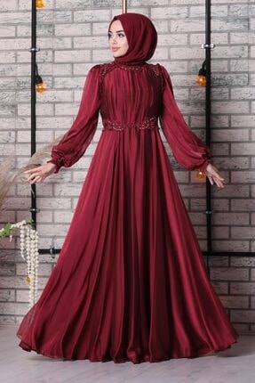 Tesettürlü Abiye Elbise - Dantelli Bordo Tesettür Abiye Elbise 21640br