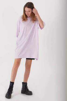 Addax Kadın Açık Lila Oversize T-Shirt P0731 - G6K7 Adx-0000020596 0
