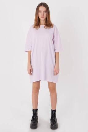 Addax Kadın Açık Lila Oversize T-Shirt P0731 - G6K7 Adx-0000020596 3