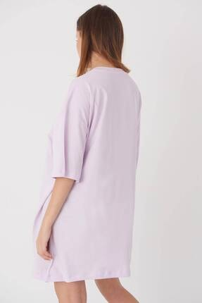 Addax Kadın Açık Lila Oversize T-Shirt P0731 - G6K7 Adx-0000020596 4