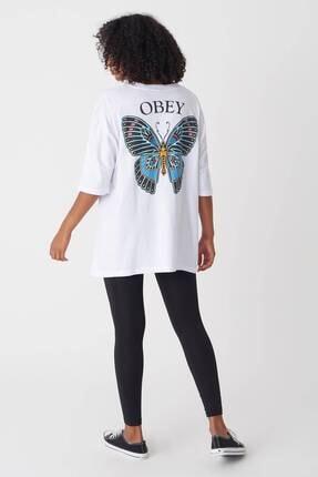 Addax Kadın Beyaz Baskılı T-Shirt P1029 - J1 Adx-0000022711 4