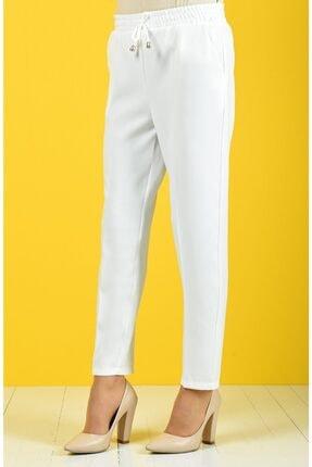 Essah Moda Kadın Beyaz Lastikli Havuç Pantolon - Me000274 1