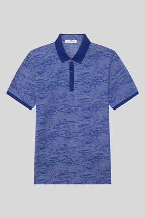 Halifaks Erkek Lacivert Polo Yaka Desenli Pamuklu T-shirt 0