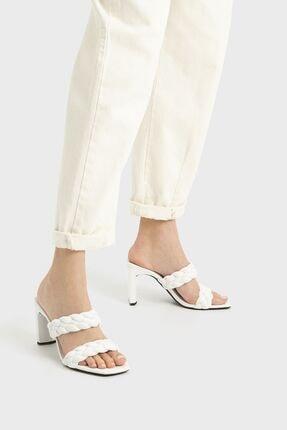 Bershka Örgü Bantlı Topuklu Sandalet 1