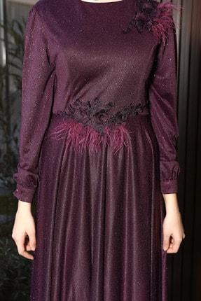 Julude Kadın Mor Dantel Tüylü Simli Abiye Elbise 2