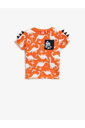 Koton Erkek Bebek Turuncu Dinozor Kısa Kollu Bisiklet Yaka Pamuklu T-Shirt 0
