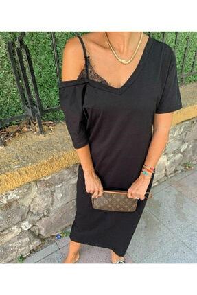 JANES Kadın Askılı Dantel Detay Viskon Kumaş Elbise 120cm 1