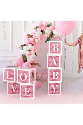 Patladı Gitti Şeffaf L Harfli Beyaz Kutu Ve Balon Seti Kendin Yap Bebek Çocuk Doğum Günü Süsleme 2