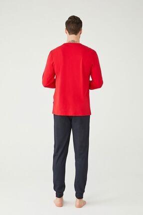 US Polo Assn Erkek Kırmızı Yuvarlak Yaka Pijama Takım 2