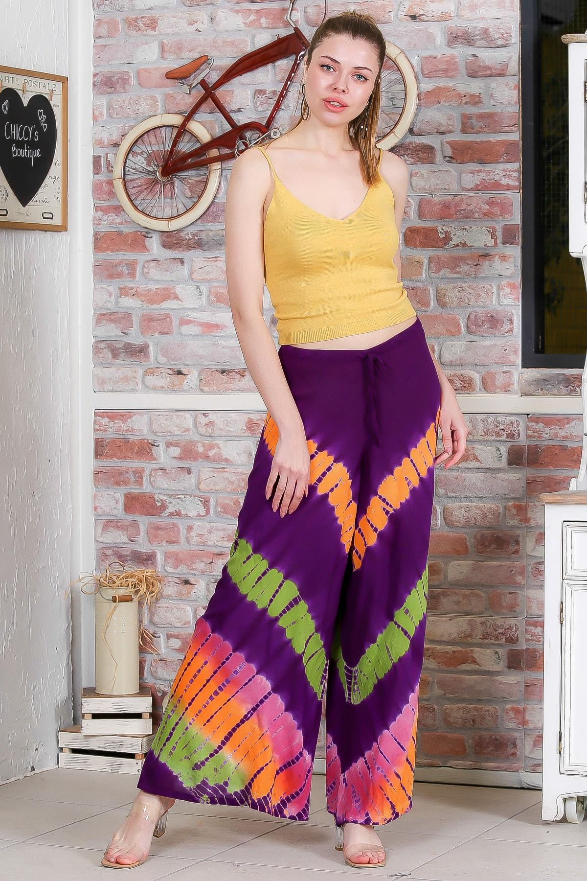 Chiccy Kadın Mor Batik Desenli Bol Paçalı Dokuma Pantolon M10060000PN98897 1