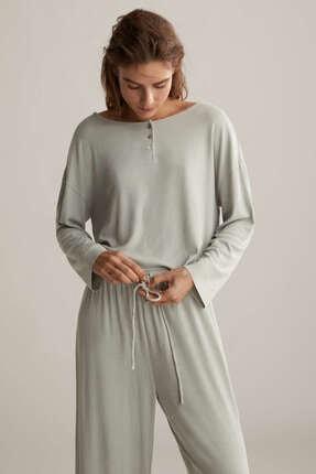 Oysho Kadın Düz Renkli Ve Fitilli Pijama Üstü 2