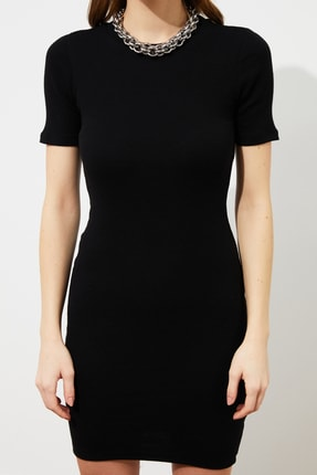 TRENDYOLMİLLA Siyah Mini Örme Elbise TWOSS19AD0053 2