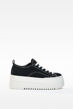 Dikişli Kumaştan Platfom Spor Ayakkabı resmi