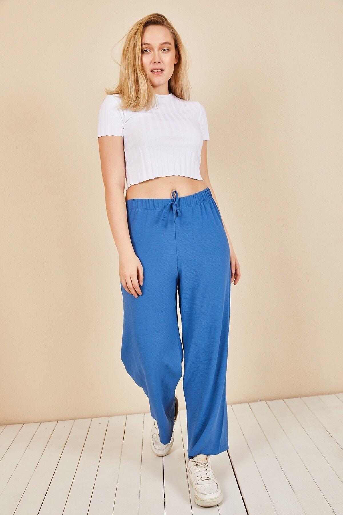 Huban Moda Kadın Indigo Mavi Beli Lastikli Bol Paça Salaş Yazlık Pantolon Aerobin-865829