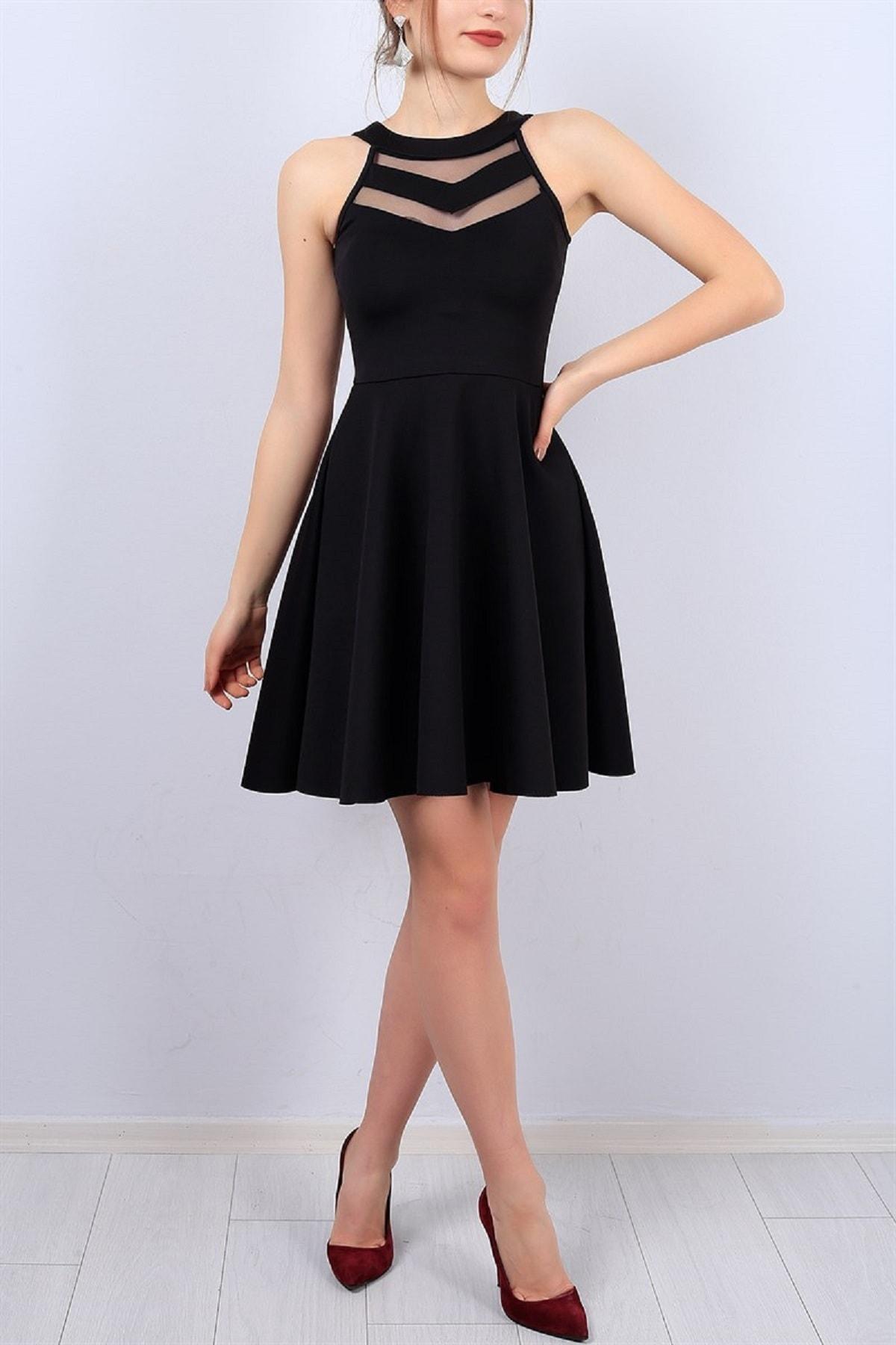 Kadın Esnek Scuba Kumaş Transparan Detaylı Siyah Elbise