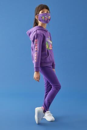 Defacto Kız Çocuk Mor Kral Şakir Lisanslı Kapüşonlu Sweatshirt 2