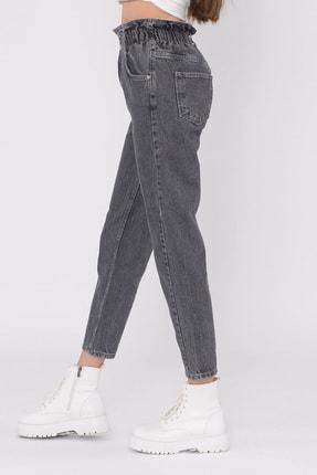 vayro Kadın Füme Kot Yüksek Bel Jean Beli Lastikli Pantolon 4