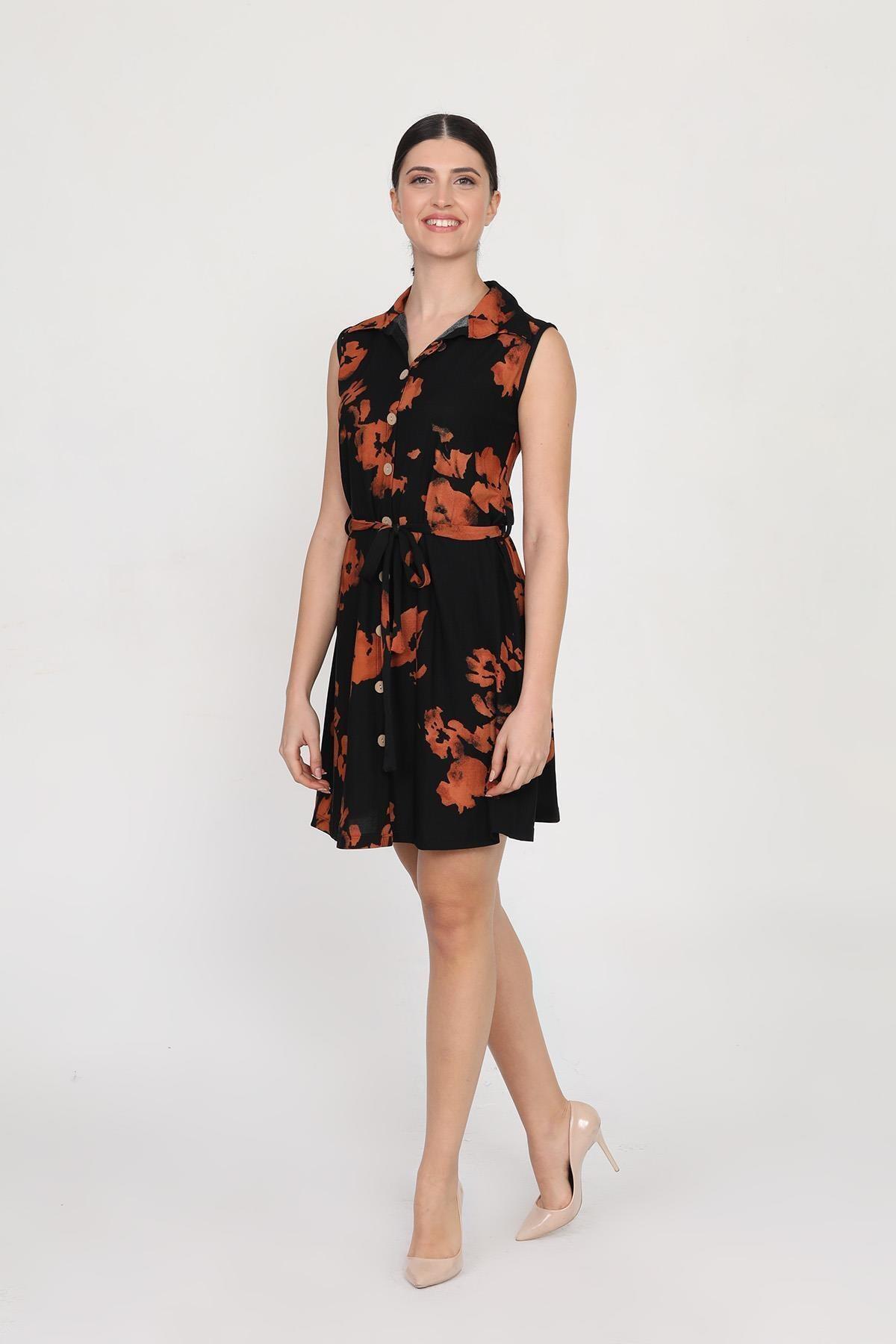 Ceylen Kadın Turuncu Önden Düğmeli Desenli Mini Örme Krep Elbise