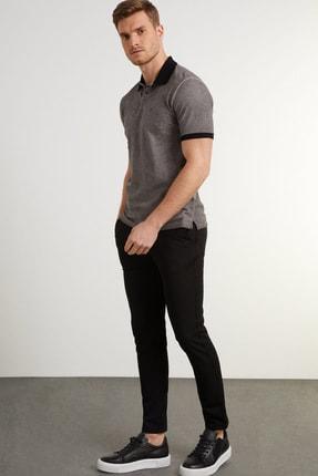 Network Erkek Slim Fit Antrasit Polo Yaka Logolu T-shirt 1078383 1