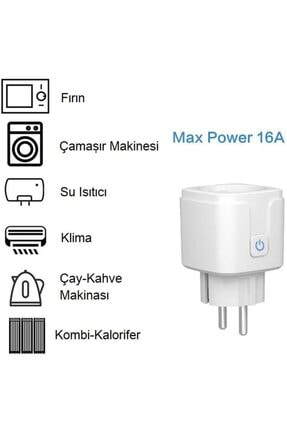 DEHALİMİTED Ios Ve Android Telefon Uyumlu Sesli Kontrollü Wifi Akıllı Priz 16 Amper 2