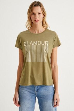 Koton Kadın Haki T-Shirt 1Yak13920Ek 2