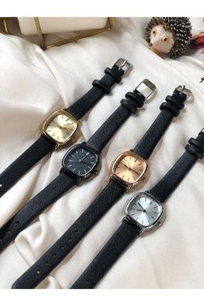 Ess Takı & Saat Retro Minimal Deri Kordon Kadın Kol Saati - Gold 2