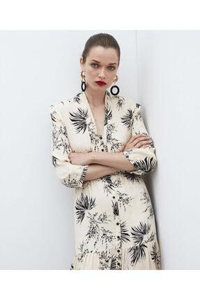 İpekyol Yaprak Desen Gömlek Elbise 0