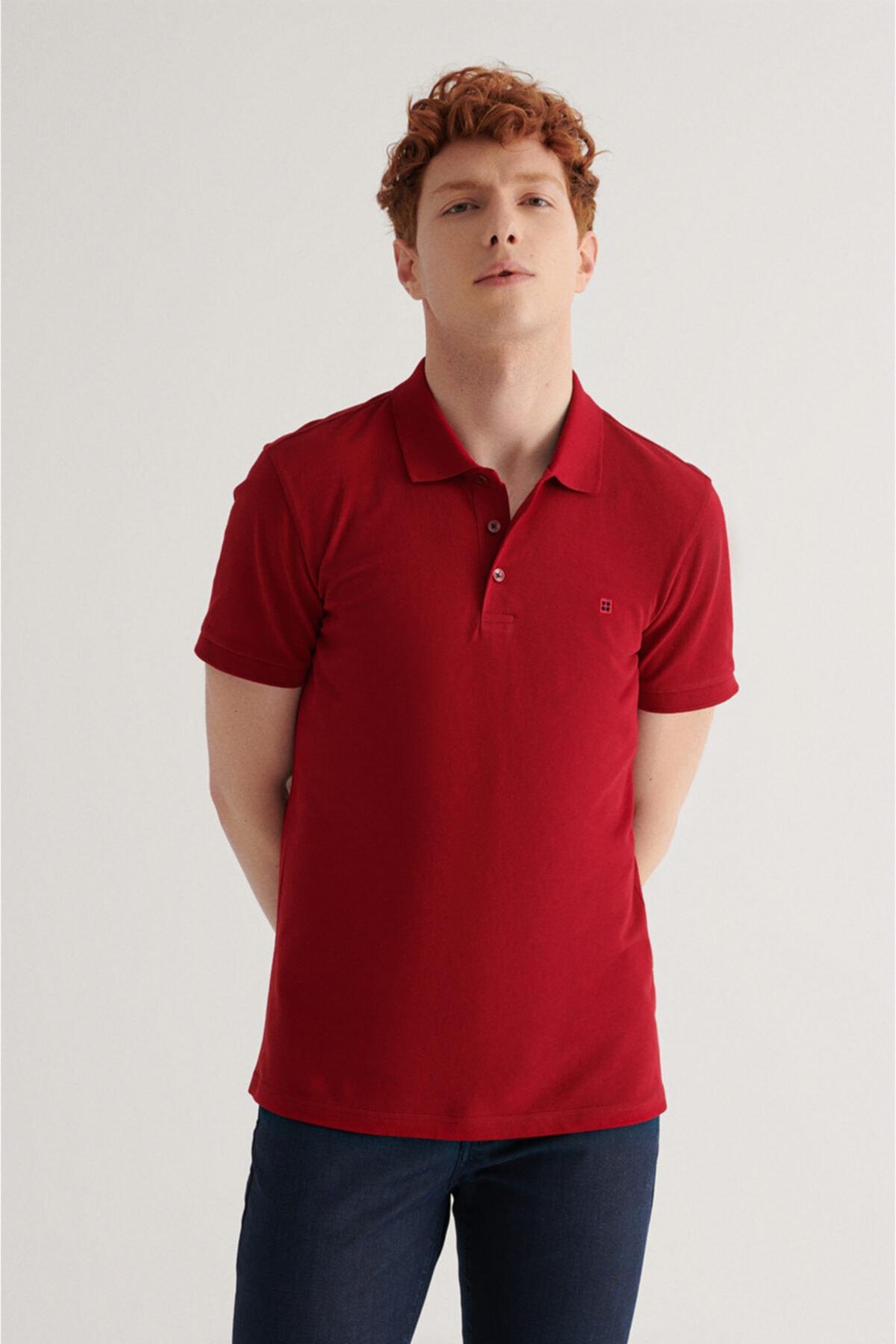 Erkek Bordo Polo Yaka Düz T-shirt E001004